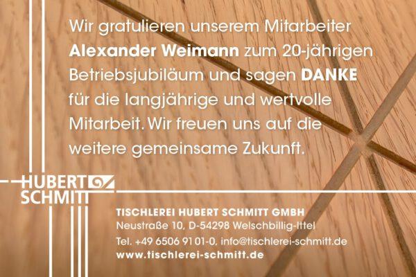 Anzeige Jubilaeum Alexander Weimann